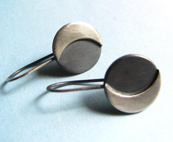 Sterling Silver Moon Earrings, Small Sterling Silver earrings, Contemporary Dangle Earrings, Simple Jewelry, Modern Minimalist Jewelry
