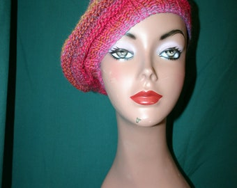 Wee Wee - The feel of Paris - Beautiful Knitted Beret in Varigated Pinks, Reds, Blues and Orange