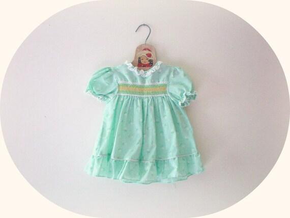 Vintage Sea Green Floral Smocked Dress