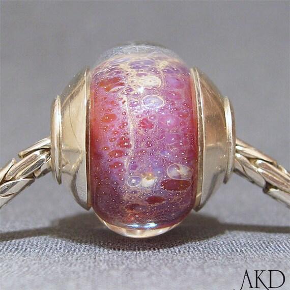 Handmade Pink SRA Lampwork Glass Bead With Sterling Silver OOAK European Charm Fits Troll Bracelet Baby Doll