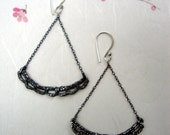 Silver cast scallop Lace Earrings