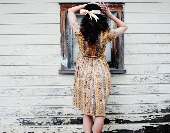 48 Hour Sale Everything 50% Off SALE Paisley Vintage Frock Dress 1960s 70s Hippie Brown Peach Yellow Green