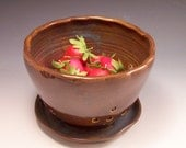 Ceramic Berry Bowl/Berry Basket With Attached Saucer in Garden Earth Blue/Brown