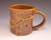 Large Brown Pottery Mug/  Brown Pottery Stein / Pottery Mug with Lizard