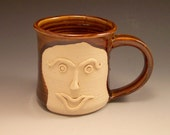 Large Pottery Mug/ Handmade Pottery Funny FaceMug