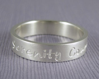 Serenity prayer ring, encouragement ring, personalized ring, Serenity Courage Wisdom on ring,  serenity ring, 5mm wide, inspirational ring