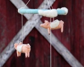 Flying Pig Mobile - Made to Order - Needle Felted Nursery Decor - When Pigs Fly