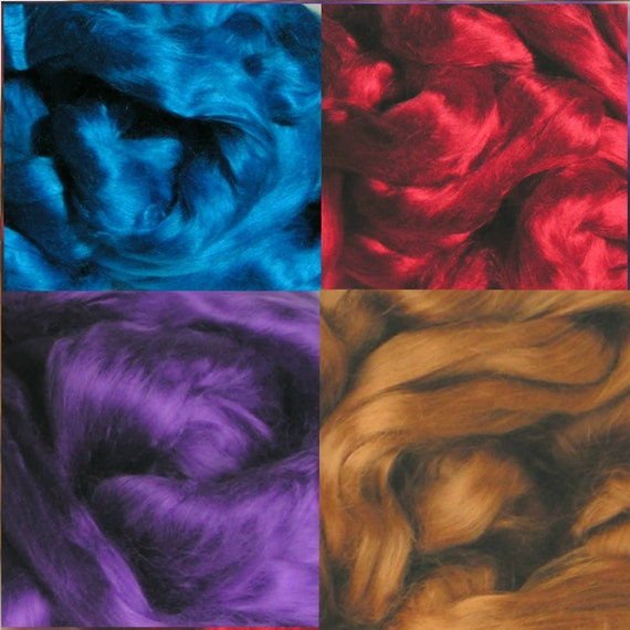roving fiber top Bamboo  Jewel Tones Arabian Nights Phatfiber August Intensely Saturated Rich 2 oz total