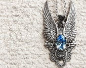 Aquamarine Crystal Pendant Silver Wings Pendant Necklace Blue Pendant Angel Wings Pendant Statement Large Pendant Gothic Jewelry girlfriend