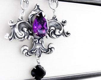 Gothic Necklace Silver Fleur De Lis Purple Swarovski necklace gothic jewelry purple necklace victorian jewelry victorian necklace mom