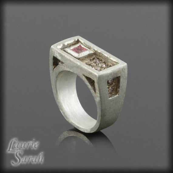 Pink Sapphire and Fancy Brown Diamond Ring, Steampunk Ring in Platinum - Purposely Imperfect - LS895