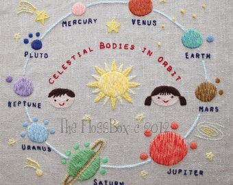 The Planets Crewel Embroidery Pattern and Kit