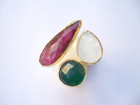 SALE  SALE  SALE----Agate and Mother of teh pearl Triple ring