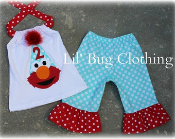 Elmo Polka Dot Birthday Hat Teal and Red Capri and Halter Top Spring Summer  Set Birthday Girl Bow