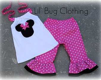 Custom Pink Minnie Capri halter Disney Outfit  3m 6m 9m 12 18 24 2 3 4 5 6 7 8 9/10