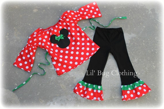 Custom Boutique Red Minnie Mouse Polka Dot Christmas Peasant Pant Set 12 18 24 2t 3t 4t 5t 6 girl