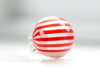 Peppermint Stripe  Ring, Hammered Silver Ring, Statement Jewelry, Big Chunky Ring, Red and White, Adjustable Ring, Funky Ring