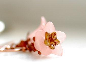 Pink Flower Earrings, Copper Earrings, Summer Earrings, Garden Wedding, Pastel Jewelry, Nature Jewelry - Canterbury Bells