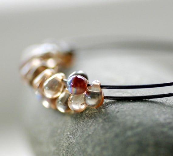 Sterling Silver Hoops, Hoop Earrings, Pink Champagne Glass Teardrops, Blackened Hoops, Girly Earrings, Oxidized Silver