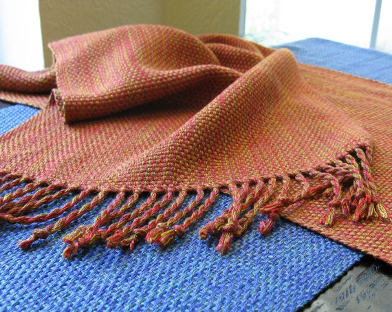 Autumn Decor HandWoven Table Runner Tuscan Copper Red Gold Hand Woven Fall Holiday Table Decor