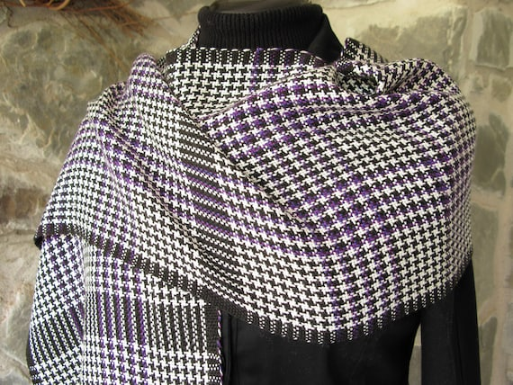 Hand Woven Scarf Shawl Purple White and Black Graphic Houndstooth Check HandWoven