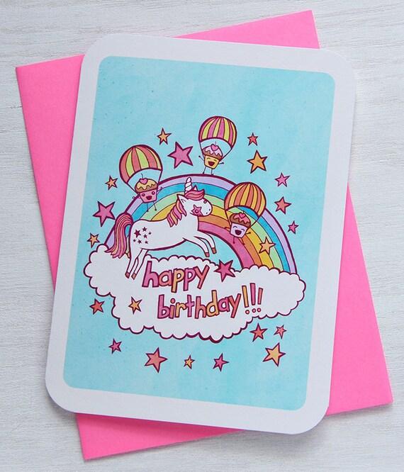 Happy Birthday Unicorn and Cupcakes - Notecard