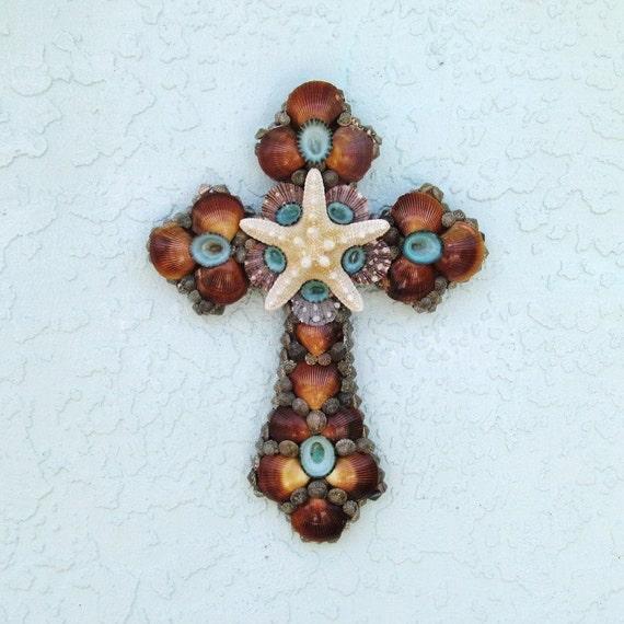 Cross Wall Art Shells Starfish Brown Turquoise White