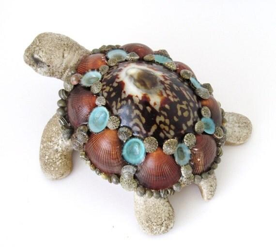 Turtle Sculpture Seashells Brown and Aqua