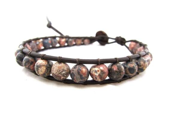 Pink Leopard Skin Jasper Beaded Leather Wrap Bracelet With Hawaiian Coconut Shell Button