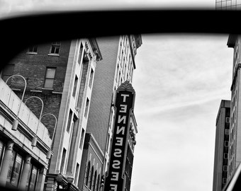 Tennessee Theatre in the Rearview Mirror -- Knoxville, Tennessee -- Black and white photograph