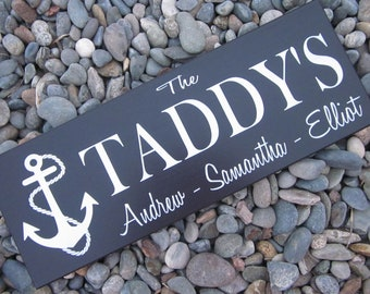 family name sign Custom Wood Sign Personalized family name sign Last name sign  Anchors Away Navy wedding, NO VINYL lettering