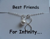 Sterling Silver BEST FRIEND Infinity Charm and Pearl Necklace