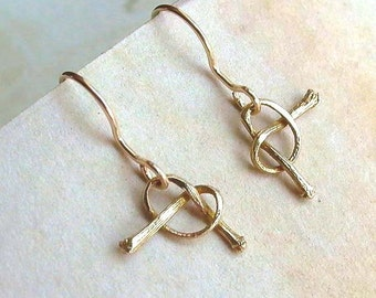 Cherry Stem Earrings - Brass - Cherry Stem Knot - Delicate - Nature Inspired - Cherry Stems - Miniature - Knot Earrings - Made In Brooklyn