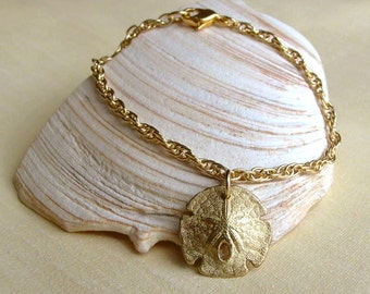 Sand Dollar Bracelet - Brass - Nature Inspired - Organic - Golden - Sea Biscuit - Shell Bracelet - Beach Jewelry - Charm Bracelet - Beachy