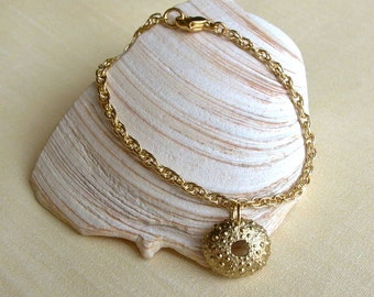 Sea Urchin Bracelet - Brass - Beach Inspired - Spiky - Bumpy - Handmade - Organic - Cottage Chic - Nautical -Shell Bracelet - Charm Bracelet