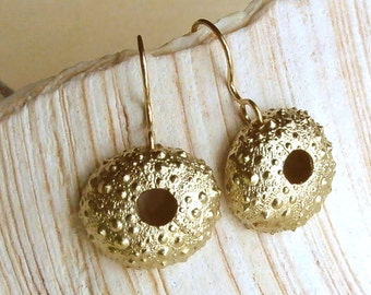 Sea Urchin Earrings - Brass - Bumpy - Beach Inspired - Beach Wedding - Organic - Natural - Nature Inspired - Shell Earrings
