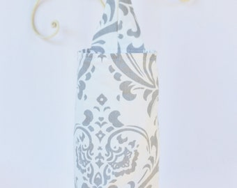 Fabric Cloth Plastic Grocery Bag Holder Grey Flourish