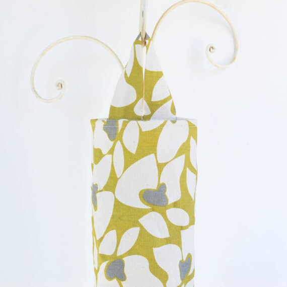 Fabric Plastic Grocery Bag Holder Dispenser Citrine Yellow Grey and White Flowers