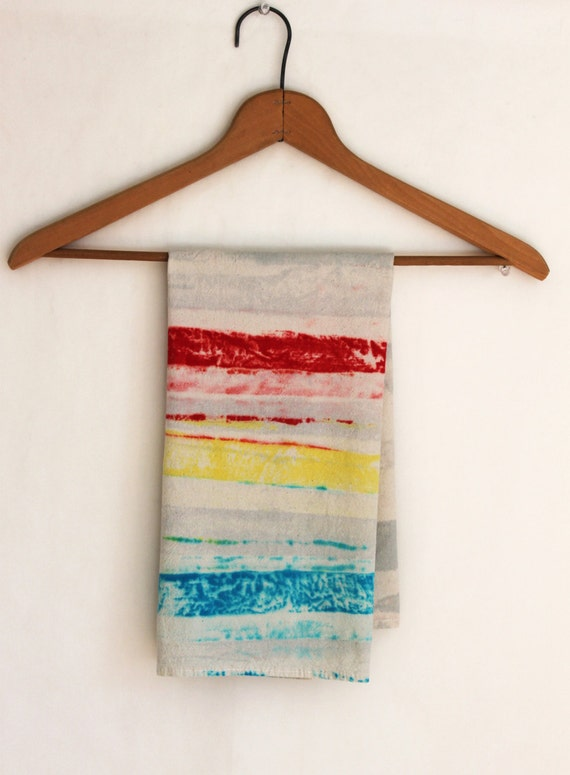 Kitchen towel, Primary colors, red, yellow, blue, gray, rustic natural unbleached cotton dish cloth hand painted stripes