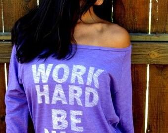Work Hard, Be Nice.  Eco-Heather Crop Raglan. Sizes S-XL.