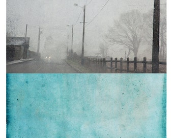 Pole Turquoise  (Landscape Photography - Fine Art Print - Road - Winter - Painting - Color Block - Black and white - Turquoise Blue)