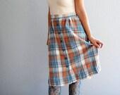 vintage PLAID skirt / button down WOOL skirt
