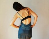 recycled OPEN BACK slip dress / hand dyed forest green night dress