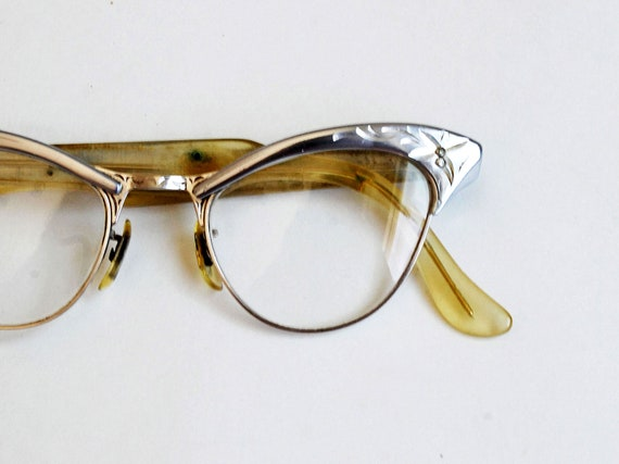 vintage CAT EYE glasses / 1950s stainless steel etched frame glasses