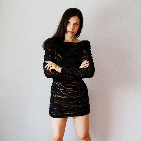 vintge METALLIC dress / 1970s BODYCON bronze party dress