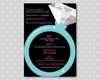 Bachelorette Party Invitation    Last Fling Before the Ring Invite   Hens Night   Diamond Ring party   Digital Download   Printable 5x7