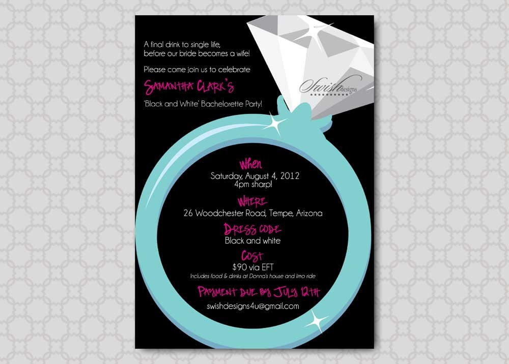 Bachelorette Party Invitation Last Fling Before the Ring