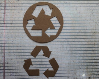 2  Bare/Unfinished diecut chipboard recycle symbol die cuts 4 1/4 inches wide