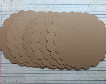 4 Scalloped Circles Bare chipboard die cuts 4 1/8 inches