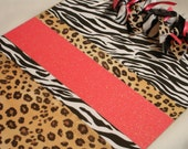 ANIMAL PRINT CLIPBOARD You Pick Glitter Color